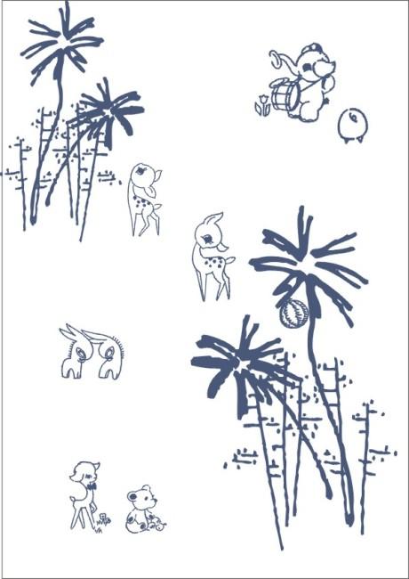 小动物房子大树简笔画