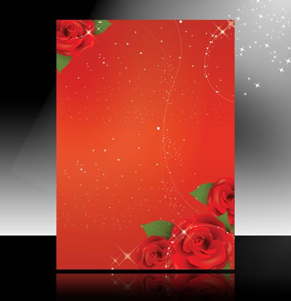【psd】喜庆红色玫瑰花海报背景 宣传单展板背景