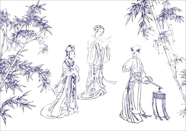 【cdr】古代美人竹林看书-工笔画