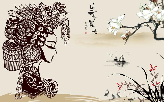 【psd】中式水墨京剧脸谱背景墙壁画图片