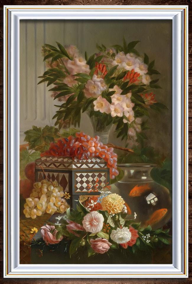 美丽的鲜花与水果写实油画