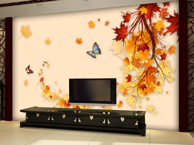 欧式背景墙 枫叶 高清欧式花纹墙纸 抽象 背景墙 电视墙 形象墙 欧式