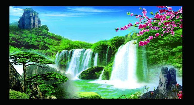 瀑布 瀑布风景 瀑布图片 瀑布背景图 瀑布风景图片 瀑布水 桃花 桃花