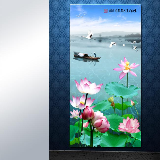 【psd】荷花渔船山水风景装饰画