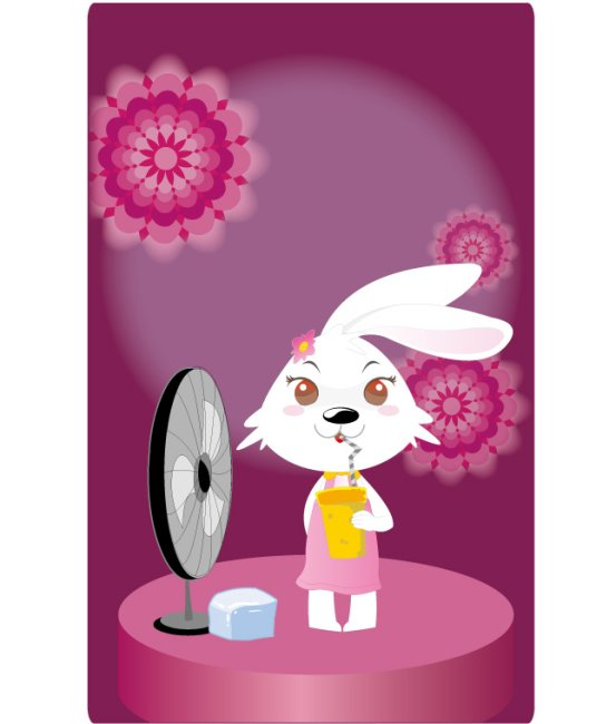 插画 生肖兔子 卡通形象之图图2号 花朵背景 说明:可爱女生之喝饮料的