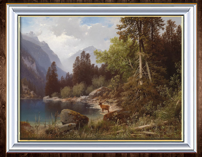 > 森林岸边古典主义风景油画  关键词: 山 远山 森林 树林 蓝天白云