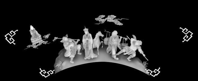 木雕 家具雕刻 浮雕 石雕 艺术雕刻 风景 说明:西游记精雕jdp灰度图
