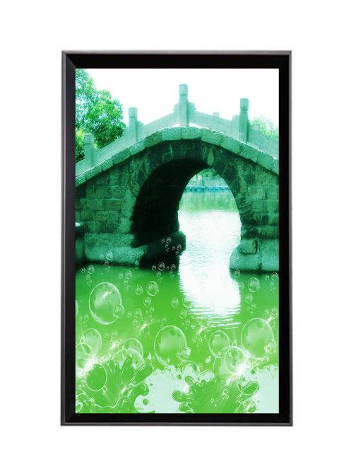 关键词: 室内装饰画设计 绿色风景 优美风景 小桥 拱桥 河水 春天