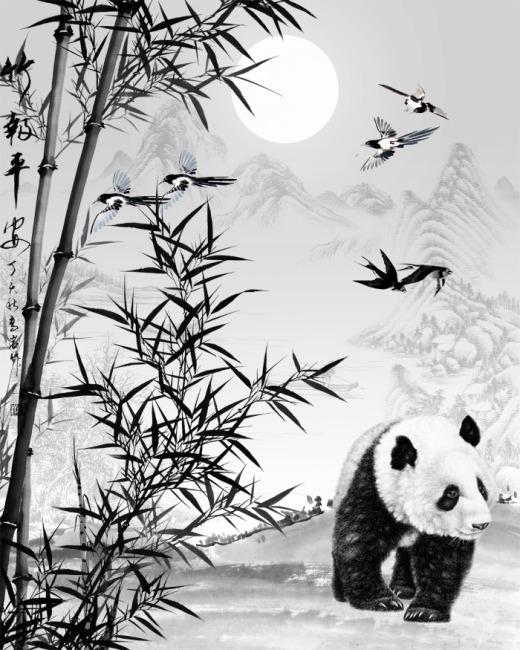 【psd】水墨熊猫竹子国画图片