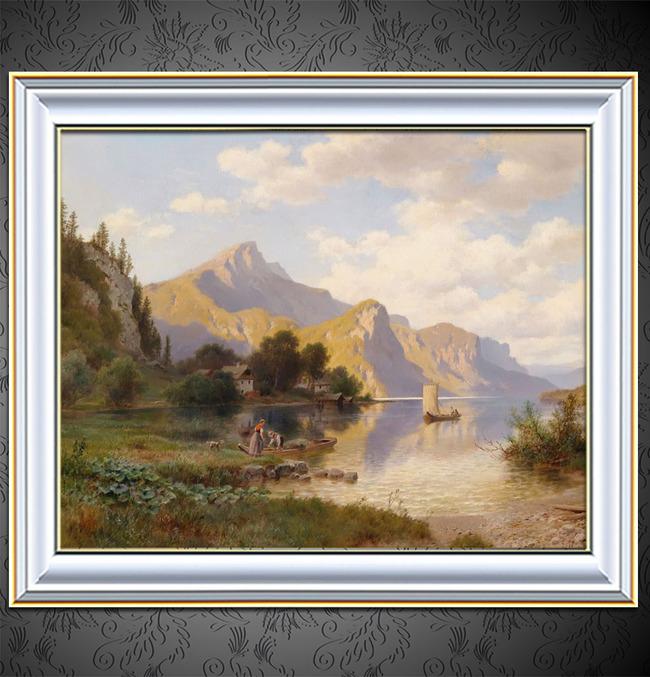 【jpg】清晨的湖边古典主义风景油画