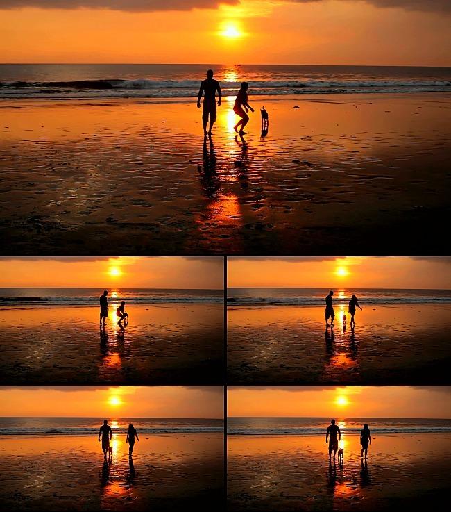 下海边沙滩情侣漫步背景视频素材  关键词: 夕阳 海滩 情侣 小狗 晚霞