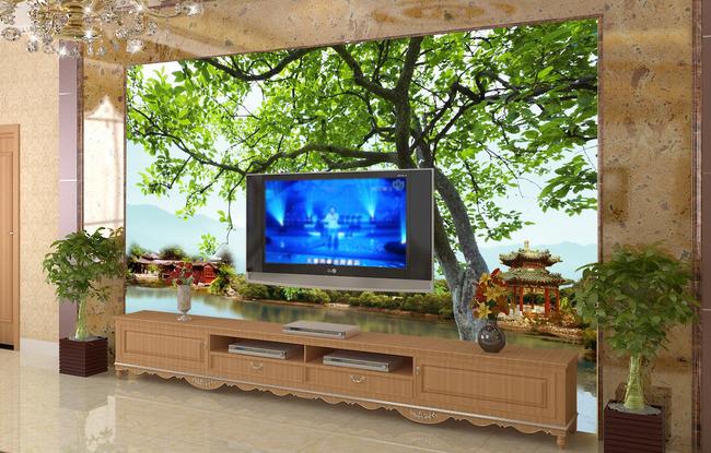 【psd】客厅大树风景电视背景墙图片