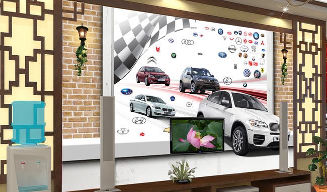 【psd】客厅3d窗户汽车电视背景墙图片