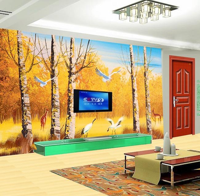 【psd】3d立体梦幻树客厅电视背景墙装饰画