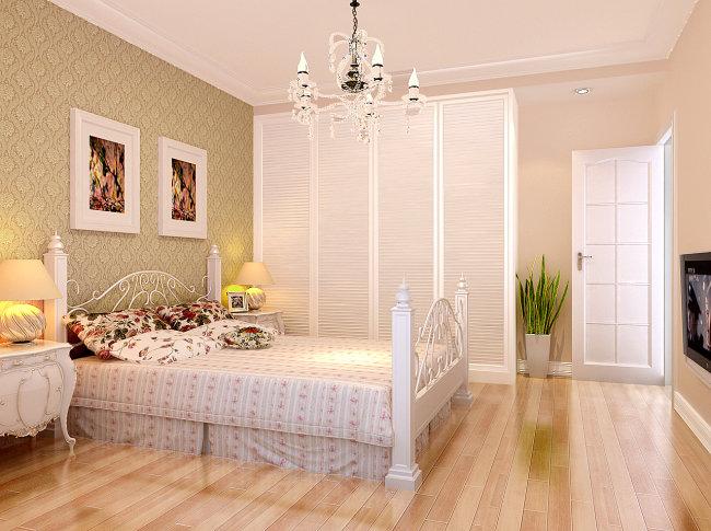 室内模型 > 简欧卧室  关键词: 欧式床 装饰画 射灯 水晶吊灯 床头柜