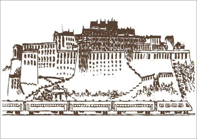 白描 手绘画 手绘 皇宫 建筑 寺院 半山建筑 城堡 手绘图 火车 树木
