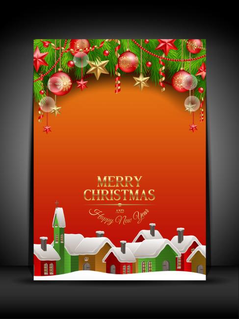 【psd】圣诞节元旦节海报展板背景模板分层下载