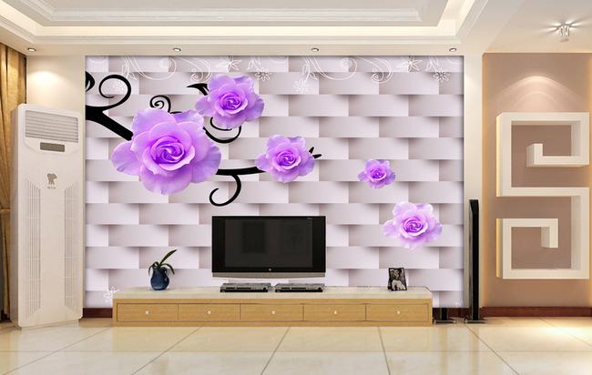 【psd】3d电视背景墙壁纸壁画梦幻花图片