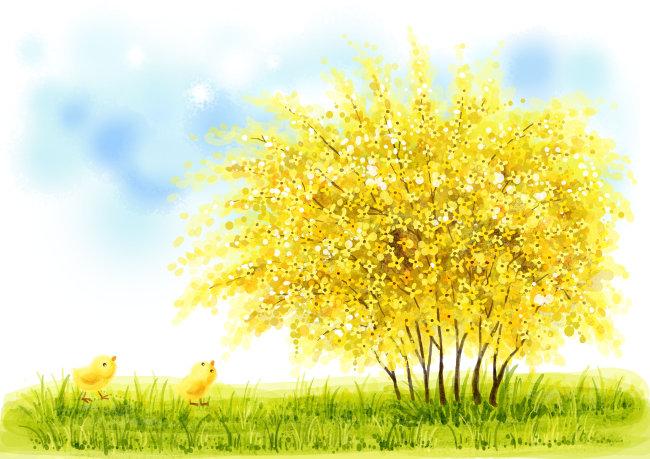 绘画 > 美丽风景  关键词: 美丽风景 风景 秋天 插画 天空 白云 花朵