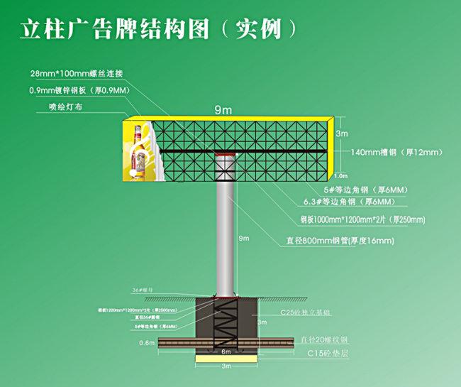 关键词: 立柱广告牌结构图 立柱 广告牌 施工 户外广告 效果图 铁架