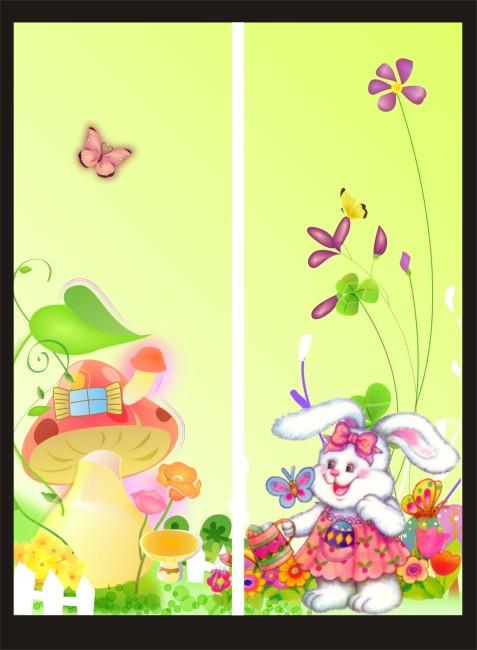 【cdr】可爱小兔子卡通移门