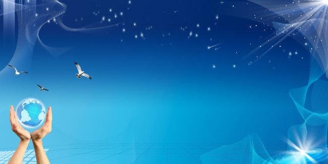 【psd】蓝色科技高清背景图设计展板模板