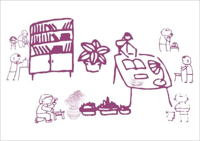 【cdr】同学整理图书馆-简笔画