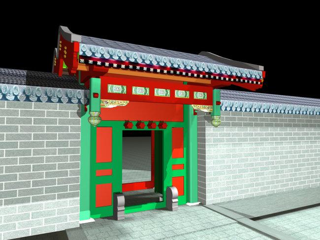 3d中式古建模型图片