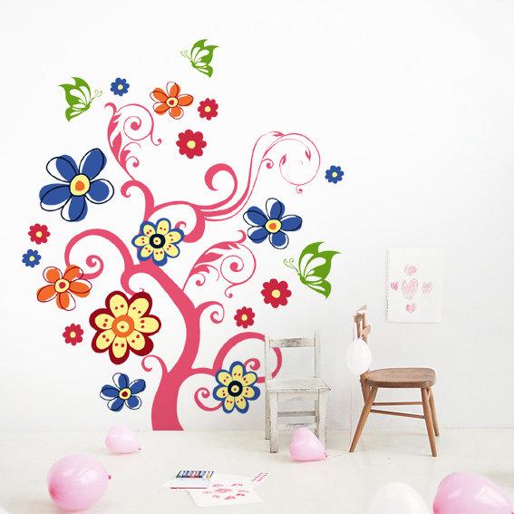 【ai】矢量组合墙贴 缤纷卡通树