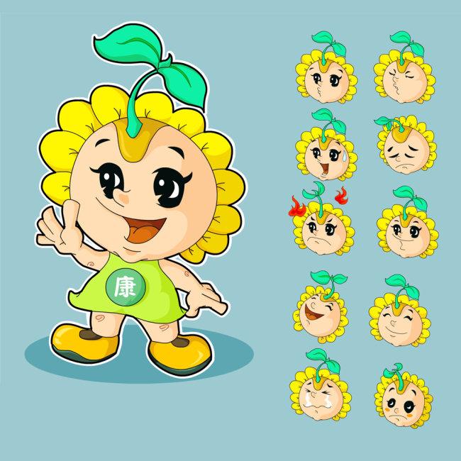 【ai】卡通可爱的向日葵植物健康宝宝形象及表情