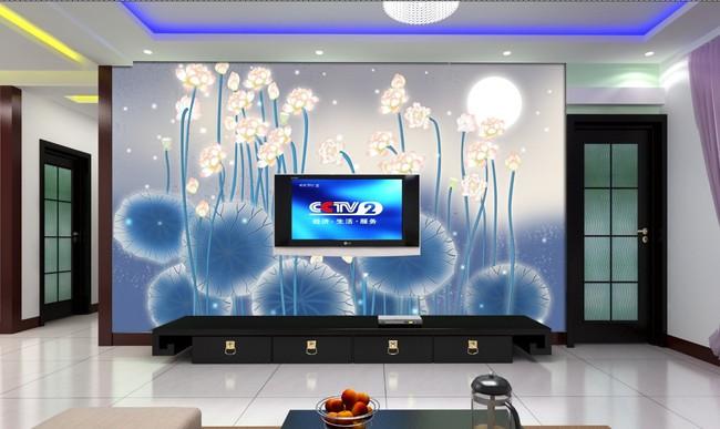 【psd】电视背景墙壁纸壁画荷花