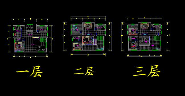 【dwg】三层别墅设计平面布置图