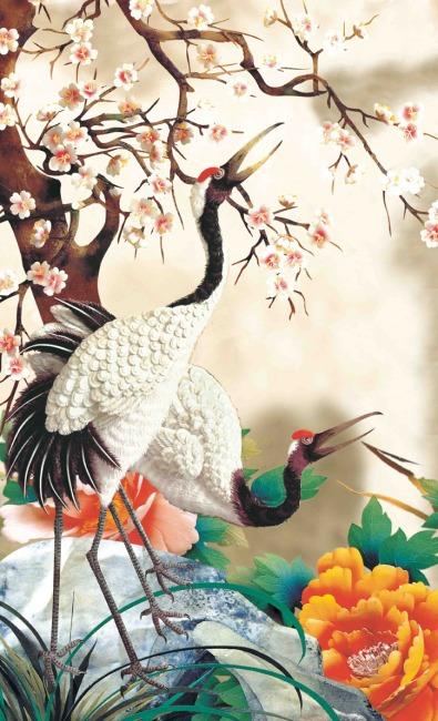 > 花开富贵  关键词: 孔雀 山水风景图 油画 现代油画 色彩画 动物画