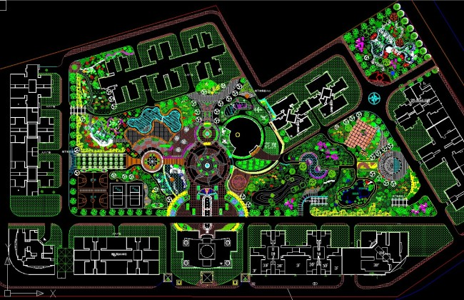 小区绿化图 园林设计