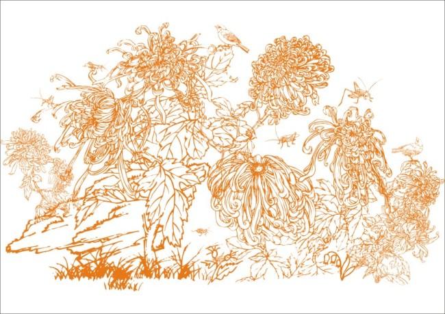 【cdr】鸟语花香-手绘画