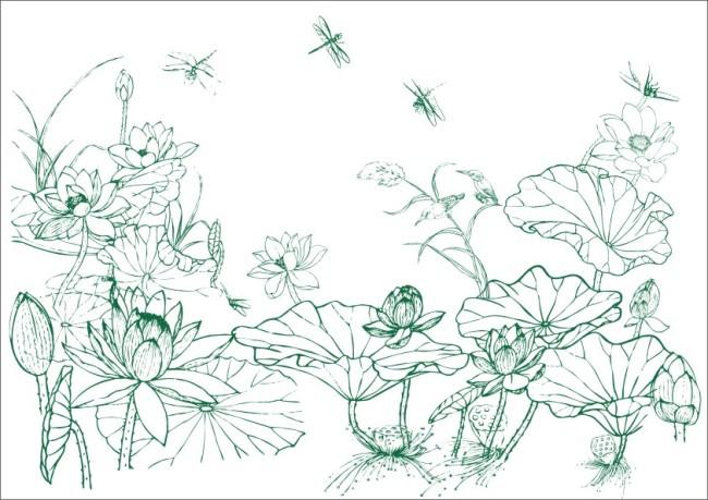 【cdr】君子莲花蜻蜓飞舞-工笔画