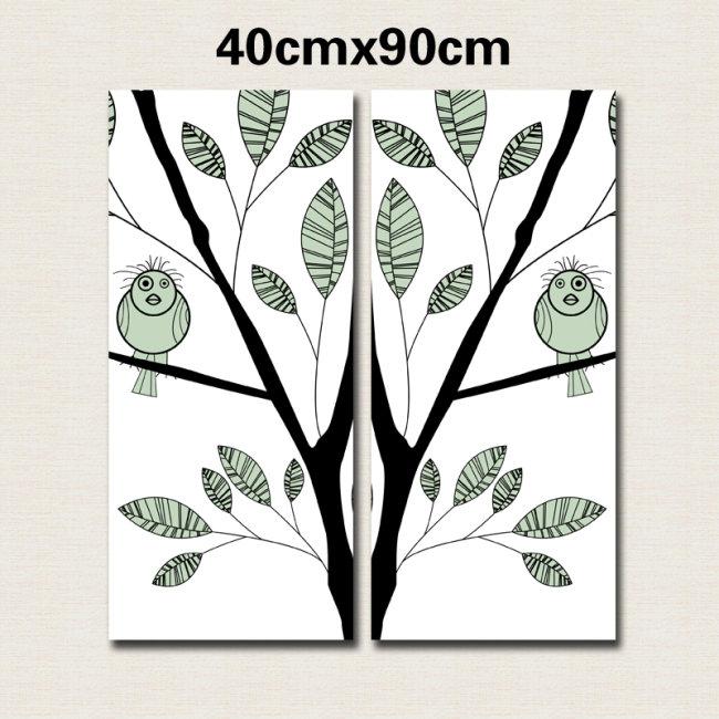 【ai】树枝和小鸟无框装饰画ai矢量图片模板下载