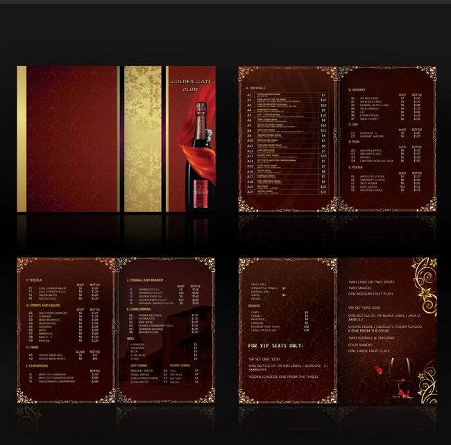 画册设计|版式|菜谱模板 菜单|菜谱设计 > 休闲会所酒水单 高档酒店