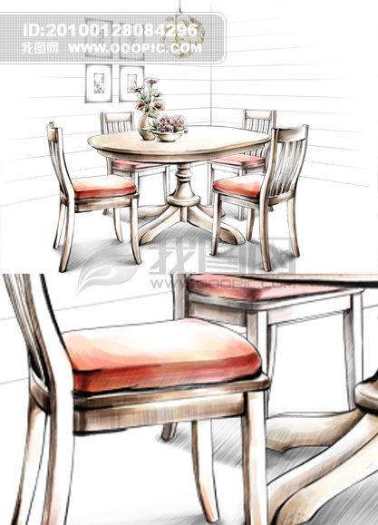 手绘效果图 手绘设计 手绘背景 手绘室内装饰 手绘室内效果图 桌子