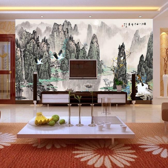 【psd】山水风景国画背景墙模板_图片编号:wli_背景墙