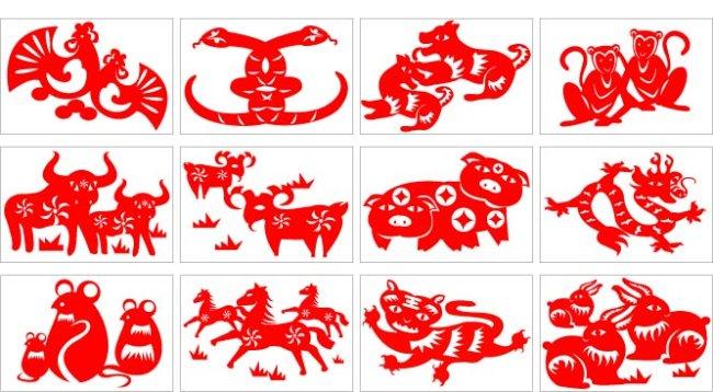 生肖插画 > 窗花剪纸十二生肖图  关键词: 鼠 牛 虎 兔 龙 蛇 马 羊