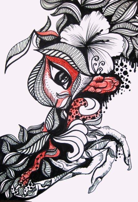 【psd】时尚元素 人物插画 彩色铅笔手绘
