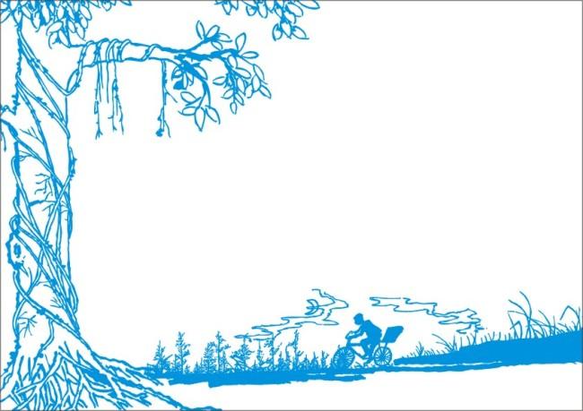 大树边框简笔画