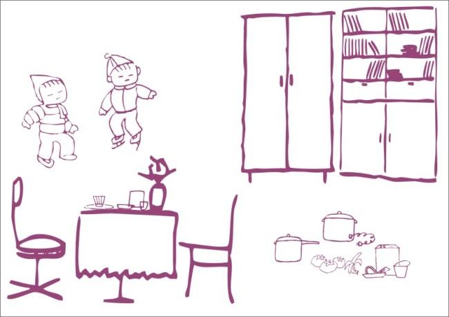 【cdr】客厅聚餐-简笔画