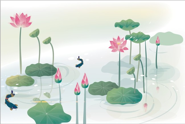 【psd】手绘荷花梦幻荷花电视背景墙