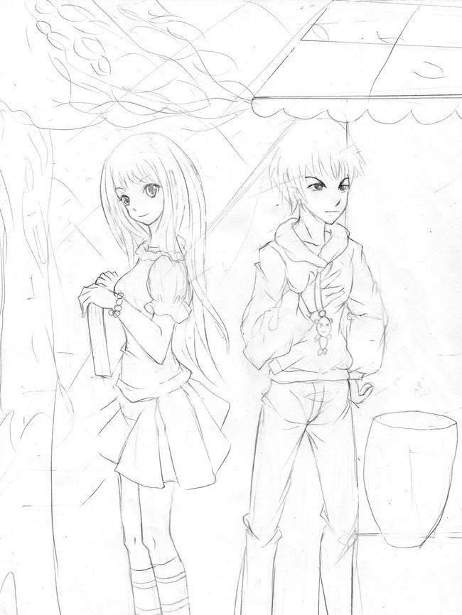 【jpg】黑白手绘校园风清新插画