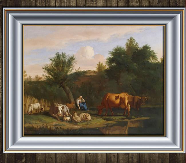 古典主义风景油画  关键词: 放牛 放牧 山 远山 森林 树林 蓝天白云