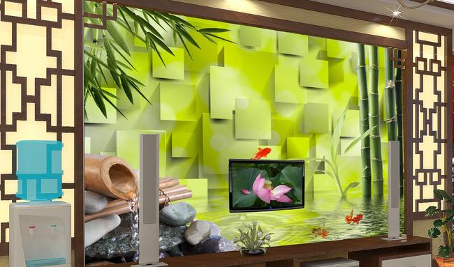 【psd】客厅3d竹林风景电视背景墙图片
