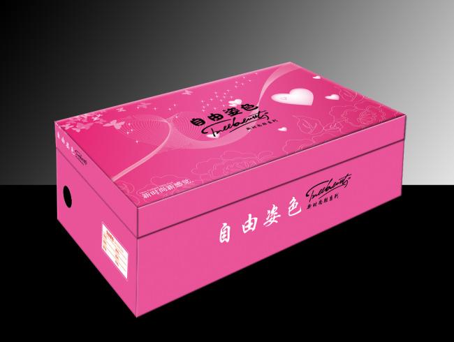 设计模板 生活用品包装 > 自由姿色女鞋盒包装(展开图)  关键词: 鞋盒
