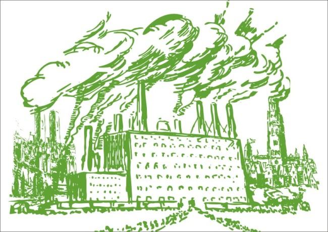 【cdr】工业污染-生态环境画